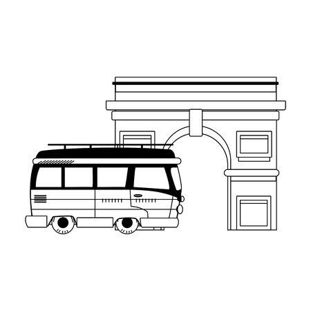 arch of triumph icon over white background, vector illustration