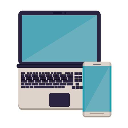 Illustration pour smartphone with laptop electronic devices vector illustration design - image libre de droit