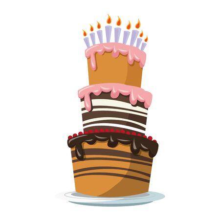 Illustration pour big birthday cake icon over white background, colorful design, vector illustration - image libre de droit