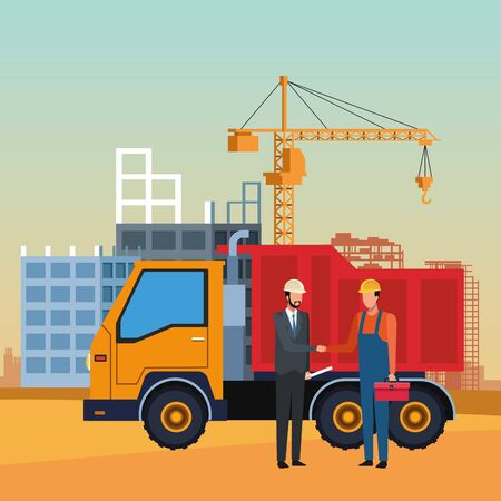 Illustration for dump truck and engineer and builder over under construction scenery, colorful design, vector illustration - Royalty Free Image