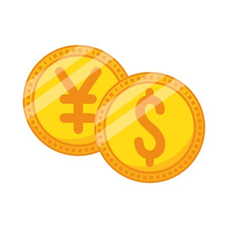 Illustration pour coins dollar and yen money icons vector illustration design - image libre de droit