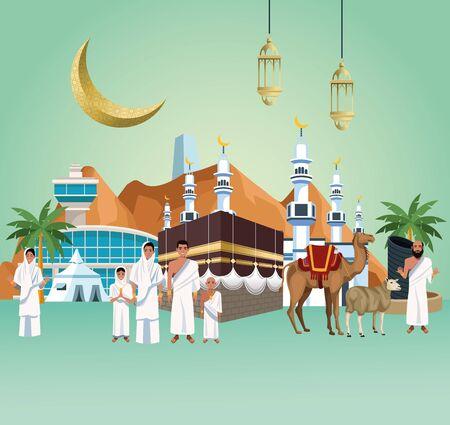 Illustration pour muslims persons in hajj mabrur travel celebration vector illustration design - image libre de droit