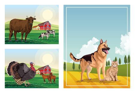 Illustration pour dog and cat with farm animals in the camp scenes vector illustration design - image libre de droit