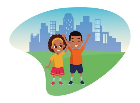Illustration for Afroamerican family sister and brother smiling cartoon in the city urban scenery vector illustration graphic design. - Royalty Free Image