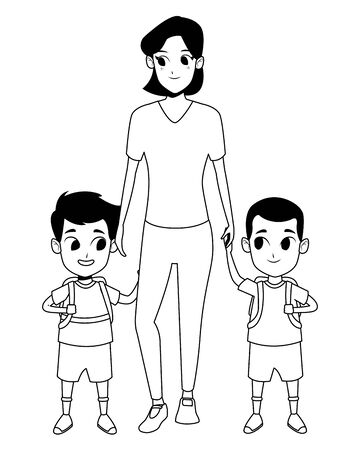 Illustration for Family single mother with two kids holding school backpacks vector illustration graphic design - Royalty Free Image