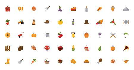 Illustration for bundle of thanksgiving set icons vector illustration design - Royalty Free Image