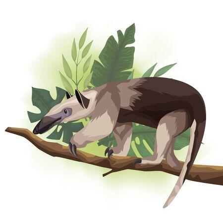 Illustration pour wild anteater in tree branch scene vector illustration design - image libre de droit