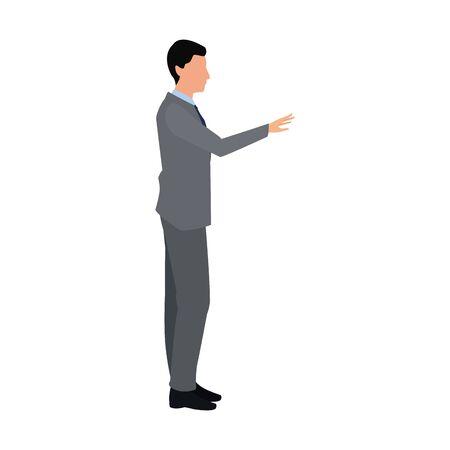 Ilustración de businessman pointing icon over white background, vector illustration - Imagen libre de derechos