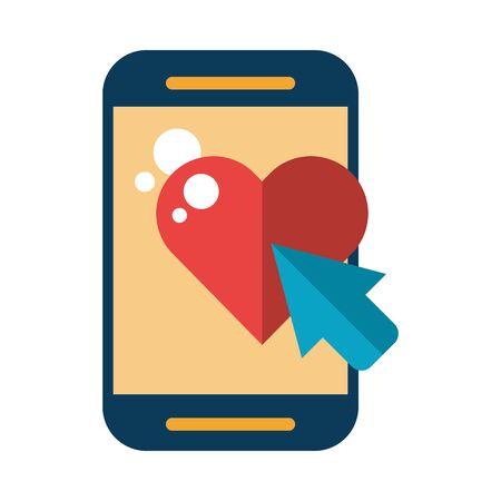 Illustration pour smartphone device with heart love vector illustration design - image libre de droit