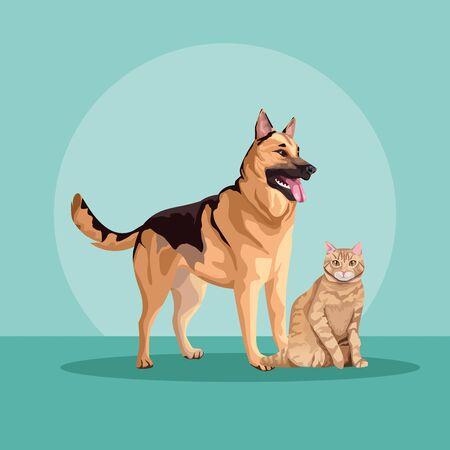 Illustration pour dog and cat mascots domestics vector illustration design - image libre de droit