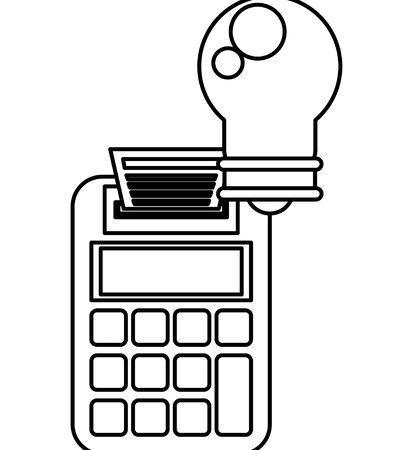 Illustration pour bulb light energy with calculator vector illustration design - image libre de droit