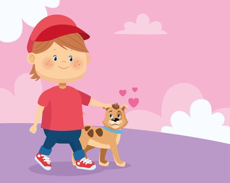 happy boy with cute dog over pink background, colorful design, vector illustration
