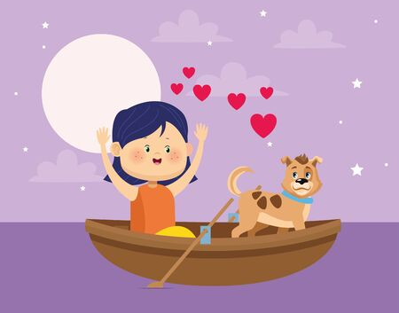 happy girl and dog in wooden canoe over purple nightfall background, colorful design, vector illustration