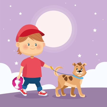 happy boy walking with cute dog over purple nightfall background, colorful design, vector illustration