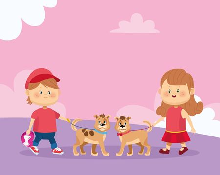 Happy girl and boy with cute dogs over pink background, colorful design, vector illustration