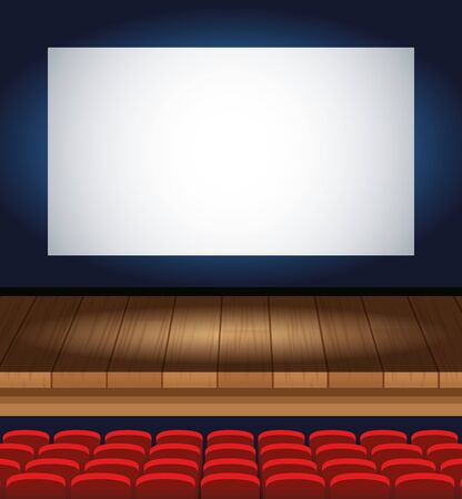 Illustration for cinema entertainment with chairs and display scene vector illustration design - Royalty Free Image