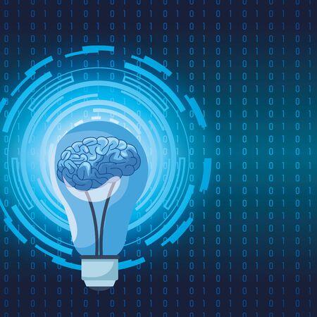 Illustration pour artificial intelligence technology human brain in bulb vector illustration - image libre de droit