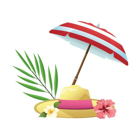 Illustration for beach hat and beautiful flowers over white background, vector illustration - Royalty Free Image