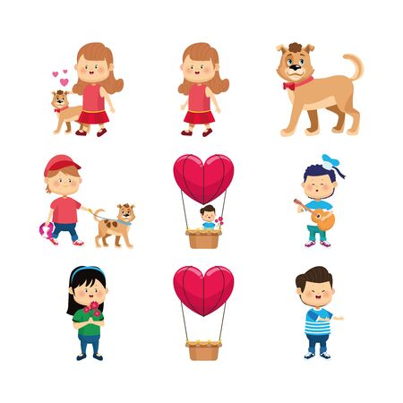 Illustration pour icon set of happy girls, boy and dogs over white background, vector illustration - image libre de droit