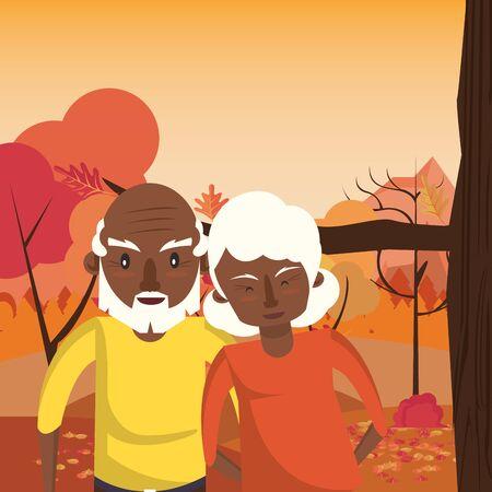 Illustration pour afro grandparents couple lovers in sunset landscape vector illustration design - image libre de droit