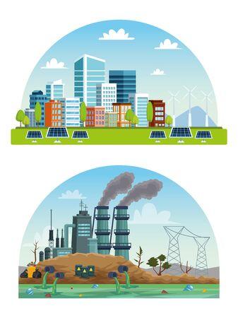 Illustration pour ecology city and industry pollution scenes vector illustration design - image libre de droit