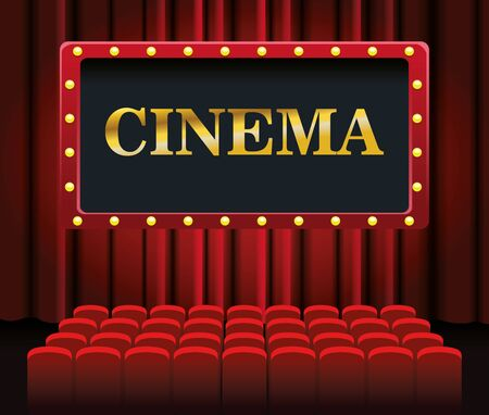 Illustration for cinema screen and chairs over red theater curtains background, colorful design, vector illustration - Royalty Free Image
