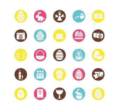 Illustration pour bundle of easter set block icons vector illustration design - image libre de droit