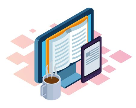 Illustration pour coffee mug and computer with book icon on screen over white background, isometric and colorful design, vector illustration - image libre de droit