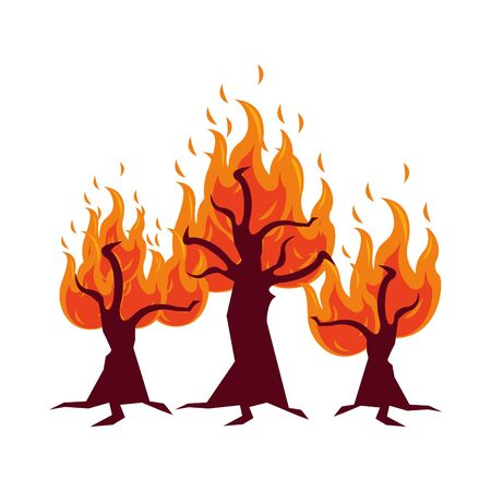 Illustration pour fire forest dry global warming scene vector illustration design - image libre de droit