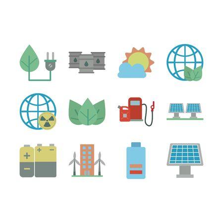 Illustration pour bundle of energy set icons vector illustration design - image libre de droit