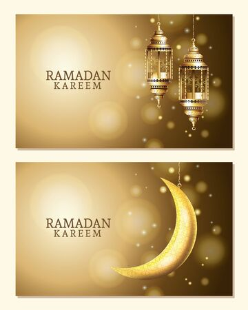 Illustration pour ramadan kareem celebration with lanterns hanging and moon vector illustration design - image libre de droit