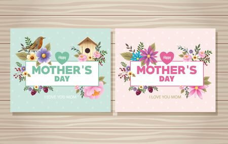 Illustration for happy mothers day card with bird and housebird floral frame vector illustration design - Royalty Free Image
