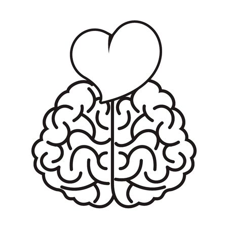 Illustration for brain with heart love icon vector illustration design - Royalty Free Image