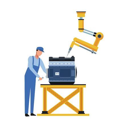 Photo pour car mechanic and robotic arm fixing a car motor over white background, vector illustration - image libre de droit