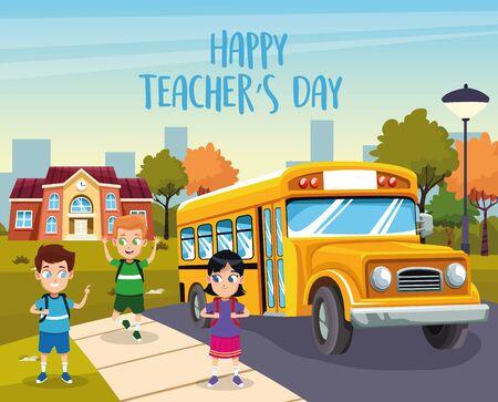 Illustration pour happy teachers day card with students in the bus stop vector illustration design - image libre de droit