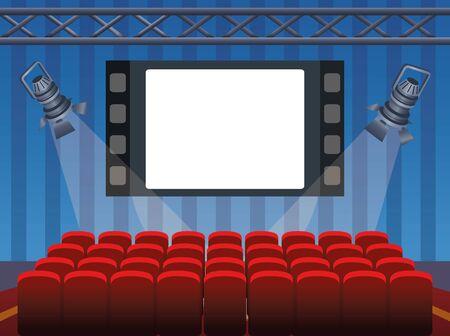 Illustration pour cinema design with screen and chairs, colorful design, vector illustration - image libre de droit
