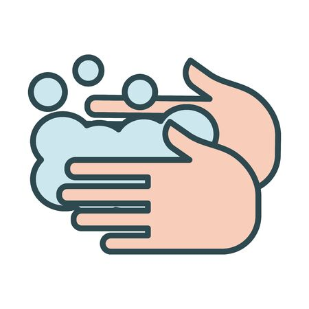 hands washing fill style icon vector illustration design