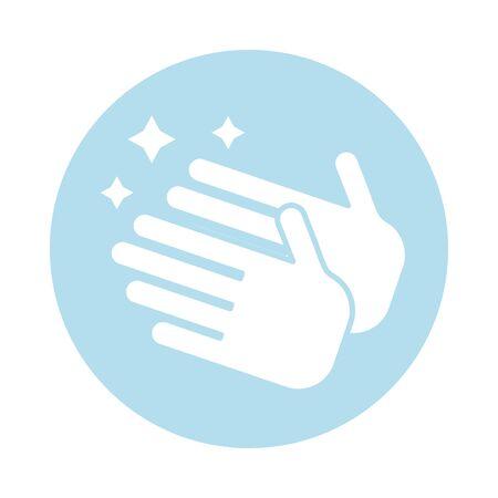 hand washing block silhouette style icon vector illustration design