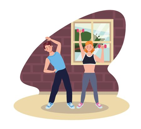 couple practicing exercise in the house vector illustration design