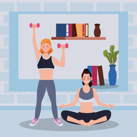 women practicing exercise in the house vector illustration design