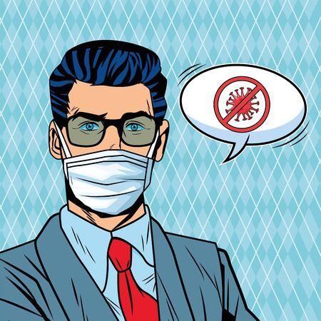 Illustration pour businessman using face mask and stop covid19 message pop art style vector illustration design - image libre de droit
