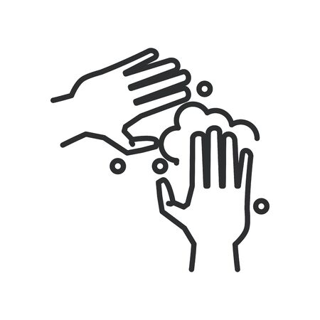 hands washing line style icon vector illustration design
