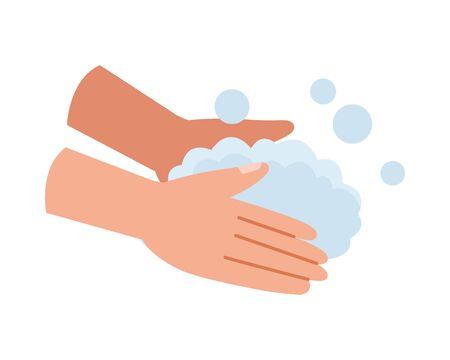 hands washing covid19 prevention method vector illustration design