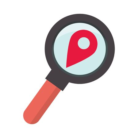 Illustration for magnifying glass search with pin location vector illustration design - Royalty Free Image