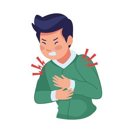 Illustration pour man sick with chest pain covid19 symptom vector illustration design - image libre de droit