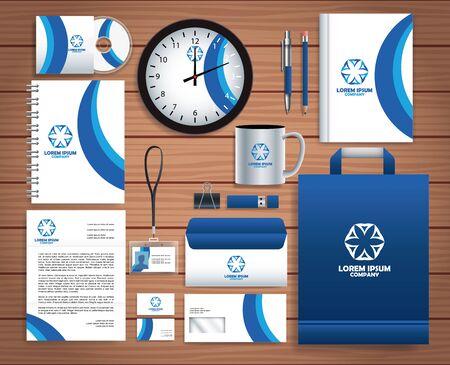 Illustration for set stationary templates in wooden background vector illustration design - Royalty Free Image