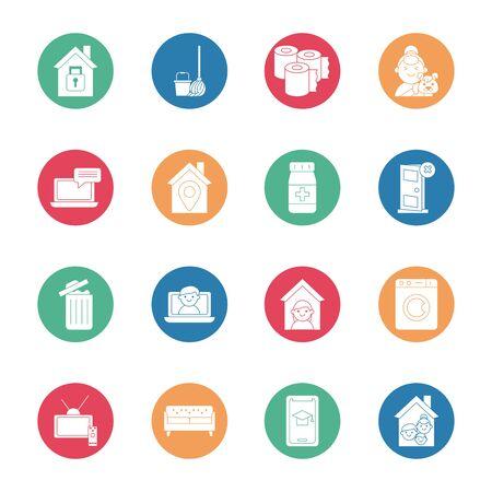 Illustration pour bundle of quarantine set icons vector illustration design - image libre de droit