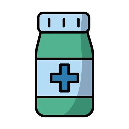Ilustración de bottle drugs fill style icon vector illustration design - Imagen libre de derechos