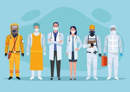 Illustration pour group of medical staff healthcare workers characters vector illustration design - image libre de droit