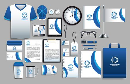 Illustration pour set of blue and white elements with stationery templates vector illustration design - image libre de droit